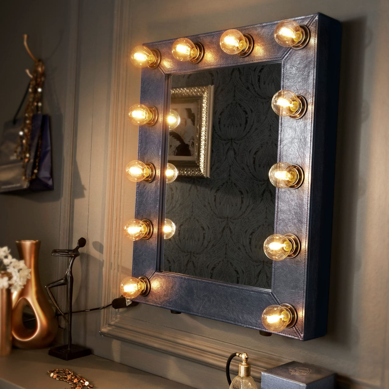 broadway hollywood mirror faux leather navy blue reflections of me. Black Bedroom Furniture Sets. Home Design Ideas